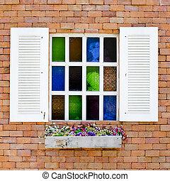 美しい, カラフルである, f, 壁, 窓, れんが, 白, ガラス