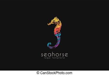 美しい, カラフルである, seahorse, 海洋水, 海, ロゴ, 創造的, logo., design.