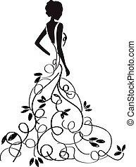 美しい, ガウン, 若い, girl/bride