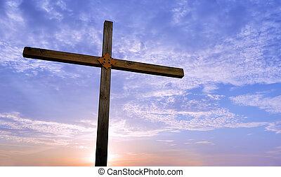 美しい, キリスト教徒, 上に, 空, 交差点, 背景
