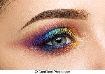 美しい, クローズアップ, 女性の目, 構造, カラフルである