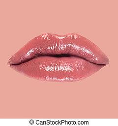 美しい, クローズアップ, 女, 唇