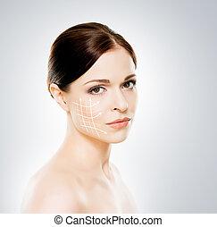 美しい, クローズアップ, 女, 彼女, 健康, 矢, concept), 顔, 若い, 手術, メーキャップ, 肖像画, 持ち上がること, (spa