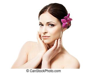 美しい, クローズアップ, 女, 彼女, 健康, 隔離された, 毛, 若い, 花, 肖像画, 白, 蘭
