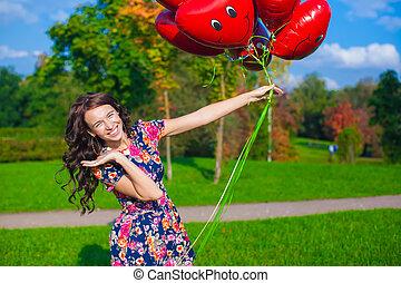 美しい, クローズアップ, 女, 風船, 若い, 魅力的, 服, 赤