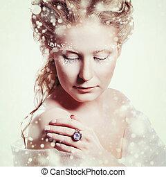 美しい, グラマー少女, 構造, クリスマス