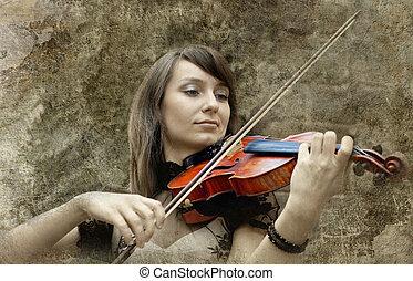 美しい, グランジ, 背景, バイオリン奏者, 女性, バイオリン, 遊び