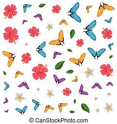 美しい, グループ, パターン, 飛行, 蝶, 花