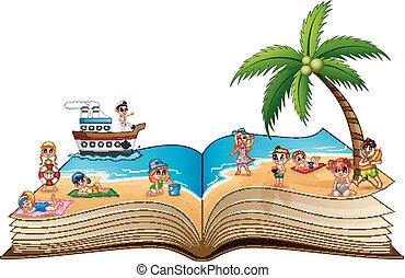 美しい, グループ, 人々, 浜の 休暇, トロピカル, 本, 開いた