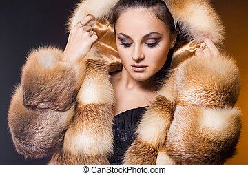 美しい, コート, 女, 毛皮