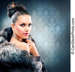 美しい, コート, 女, 毛皮, 贅沢