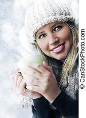 美しい, コーヒー, お茶, 若い, 飲むこと, 女の子, ∥あるいは∥