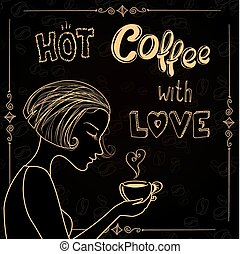 美しい, コーヒー, シルエット, 女性, カップ