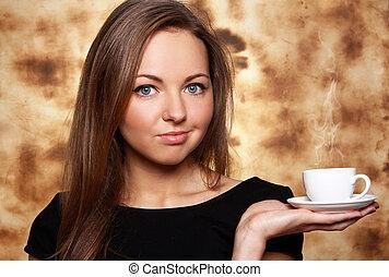 美しい, コーヒー, 女, 暑い, カップ
