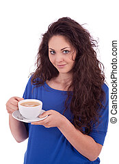 美しい, コーヒー, 女, 若い, カップ