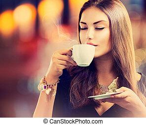 美しい, コーヒー, coffee., お茶, 飲むこと, 女の子, ∥あるいは∥