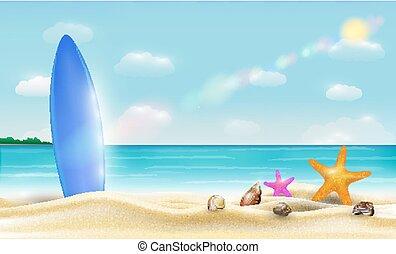 美しい, サーフボード, 砂, 明るい, ベクトル, 海, 浜