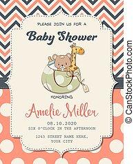 美しい, シャワー, おもちゃ, 女の赤ん坊, カード