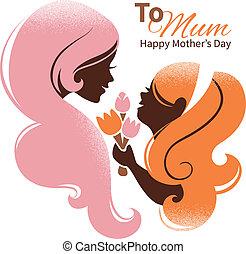 美しい, シルエット, 彼女, 母, day., 母, 娘, 花, カード, 幸せ
