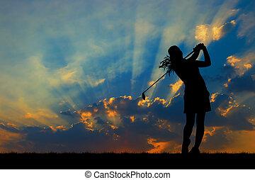 美しい, シルエット, 日没, の間, ゴルフ, ゴルファー, 遊び