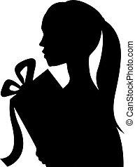美しい, シルエット, 贈り物, -, 若い, イラスト, ベクトル, 保有物, 女の子