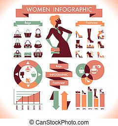 美しい, シンボル, 女性, infographic, &