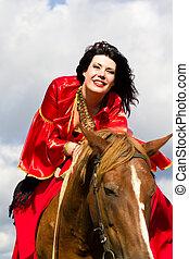 美しい, ジプシー, 女の子, 乗馬, a, 馬
