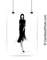 美しい, スケッチ, ファッション, eps10, イラスト, ベクトル, style., 女性