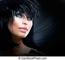 美しい, スタイル, ファッション, 芸術, girl., 女性の 肖像画, 流行