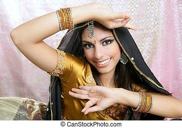 美しい, スタイル, ブルネット, indian, 伝統的である, ファッション