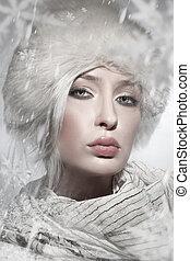美しい, スタイル, 冬, 若い, 肖像画, 女性