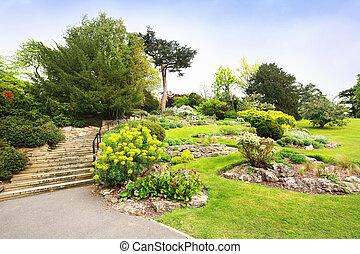 美しい, ステップ, 石, 公園, 木