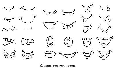 美しい, セット, シンボル, 隔離された, イラスト, ベクトル, 口, 背景, 白, アイコン, 漫画, design.