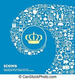 美しい, セット, 中心, アイコン, 1(人・つ), 王冠, twisted, シンボル。, 大きい, ベクトル, らせん状に動きなさい, icon., 印, すてきである