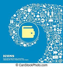 美しい, セット, 中心, アイコン, 1(人・つ), 財布, twisted, シンボル。, 大きい, ベクトル, らせん状に動きなさい, icon., 印, すてきである