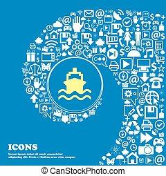 美しい, セット, 中心, アイコン, 1(人・つ), twisted, シンボル。, 大きい, ベクトル, らせん状に動きなさい, icon., 印, 船, すてきである