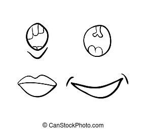 美しい, セット, 単純である, シンボル, 隔離された, イラスト, ベクトル, 背景, 微笑, 白, アイコン, 漫画, design.
