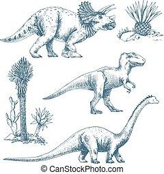 美しい, セット, 恐竜, かわいい, ベクトル, illustrations.