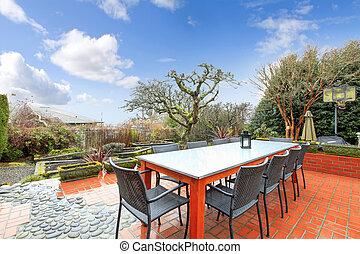 美しい, セット, 春, backyad, テーブル, 中庭