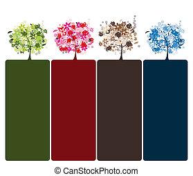 美しい, セット, 木, デザイン, 花, あなたの