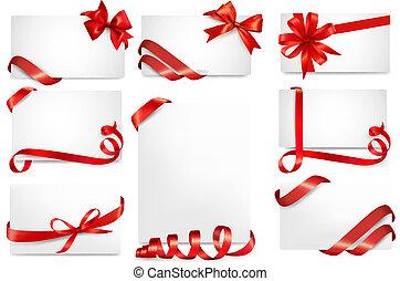 美しい, セット, 贈り物, お辞儀をする, カード, リボン, 赤