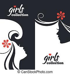 美しい, セット, silhouettes., 女の子, コレクション, 旗, 女性