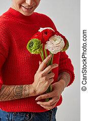美しい, セーター, 背景, 手, 女の子, 花, 白い赤