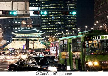 美しい, ソウル, 夜, 韓国, 光景, 南, namdaemun