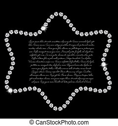 美しい, ダイヤモンド, 抽象的, イラスト, ベクトル, 黒い背景