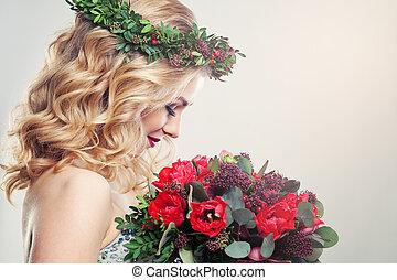 美しい, チューリップ, 女, 花