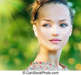美しい, ティーンエージャーの, ロマンチック, 美しさ, outdoor., 女の子, モデル