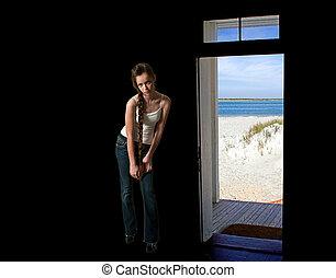 美しい, ティーンエージャーの, 女, 浜