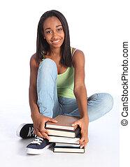美しい, ティーンエージャーの, 学校本, 黒人の少女
