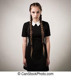 美しい, ティーンエージャーの, 服を着せられる, 黒, ひだ, 女の子